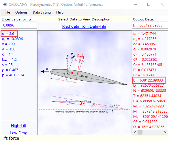 Example calculation for aircraft wing