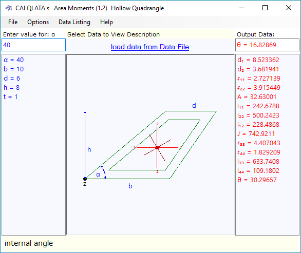 Second moment of area calculator for various hollow shapes