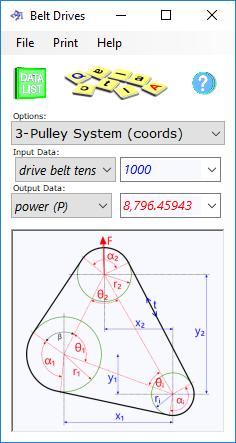 The belt drive calculator determines the performance characteristics of pulleys connected by belts and chains