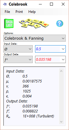 The Colebrook calculator determines the friction factor for turbulent fluids flowing over rough surfaces