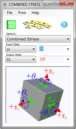 Our combined stress calculator also provides equivalent and principal stresses of an elastically deformed material