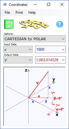The coordinates calculator converts scalar to polar and angular to distance co-ordinates