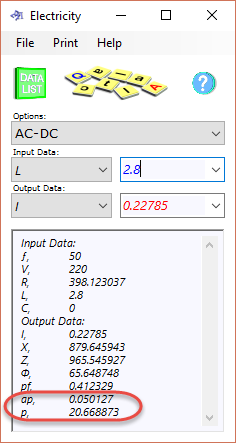 AC/DC calculation option in the electrical current calculator