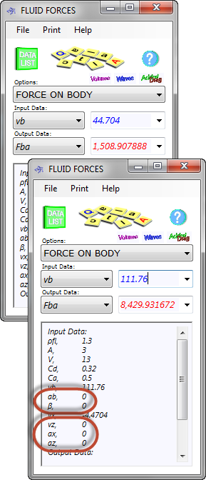 Fluid force calculator input data for a simple calculation
