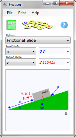 The friction coefficient calculator can be used to determine the sliding resistance between any two material surfaces under load and includes a calculation facility to dimension equivalent Morse Tapers for any material combination