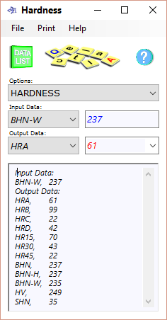 The hardness conversion calculator for Vickers, Brinell, Shore and Rockwell hardness sub-scales