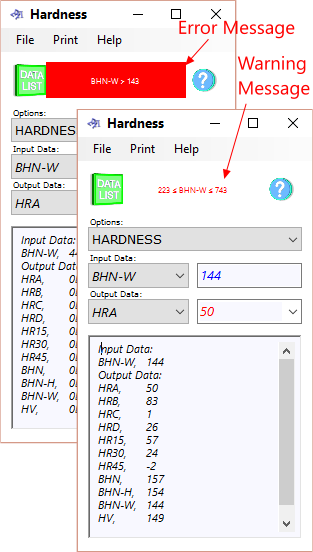 Hardness calculator warning and error messages