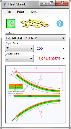 The bimetallic strip calculator determines the dimensional variations of metals due to temperature changes for engineering applications such as heat-shrink or freeze-grow sleeves and bi-metal strip deformation