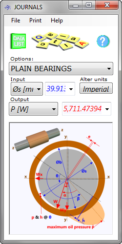 Journals calculates the performance characteristics of plain bearings (Journal bearings)