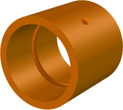 A typical plain bearing with a single groove and feed hole