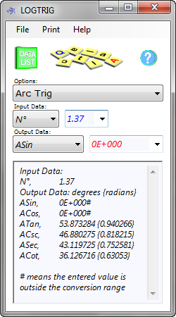 The logs and trig calculator converts between mathematical logs and anti-logs, and between plain and hyperbolic trigonometric values and their inverses