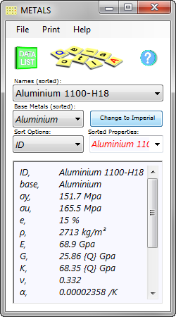 The metal properties database is a collection of the principal physical properties for over 120 standard metals and alloys including strength, elastic, thermal, electrical and chemical