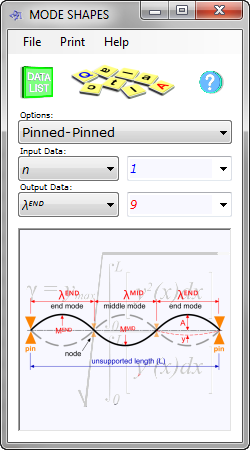 The mode shapes calculator determines the deflection and natural frequency of each mode of a beam vibrating between guided (pinned) and/or fixed (clamped) supports (up to 1000 modes)