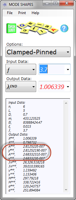 Mode shapes calculator input and output data