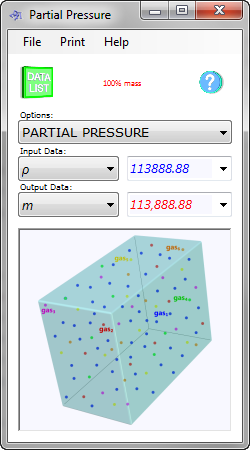 The partial pressure calculator calculates the pressure, mass and number of moles of each individual gas in a mixture of fluids