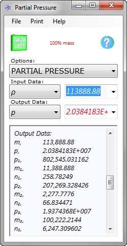 Partial pressure calculation for a mixture of gases