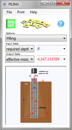 Our piling calculator determines the installation and operational parameters and limitations of tubular piles hammered into soil