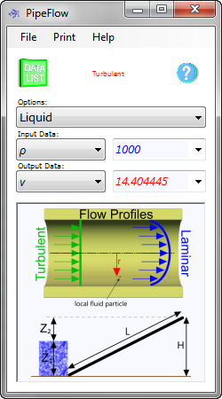 The pipe flow calculator will calculate the properties of a fluid (liquid or gas) flowing in a circular enclosed pipe at any point across its diameter and anywhere along its length
