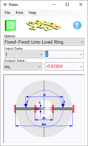 The plate deflection calculator provides deflections and stresses in loaded circular disks and rings. Plates has six edge support options and four possible loading conditions making a total of 44 different combinations