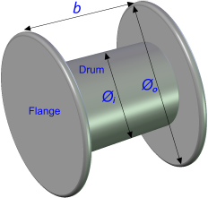 A typical cable drum for reel capacity calculator