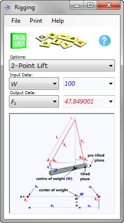 rigging calculator for multi-leg lifting systems used in conjunction with cranes and winches