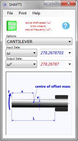 The shaft calculator calculates the performance characteristics of a rotating shaft with four different bearing support options.
