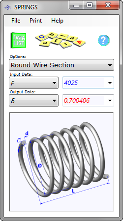 The helical spring strength calculator determines the performance and dimensions of round, square or rectangular wire springs manufactured from any material