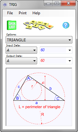 The trigonometry calculator determines the properties of angles, triangles, triangular shapes and parts of a circle