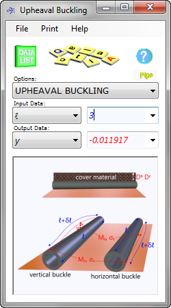 Upheaval Buckling calculates the maximum expected lateral displacement in a pipeline under axial compression, along with the minimum burial depth required to prevent it