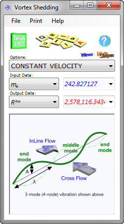The vortex shedding calculator determines whether or not a beam will vibrate at its natural frequency in specified conditions in two modes