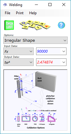 The welding calculator compares the strengths and material volumes of equivalent fillet and butt welds