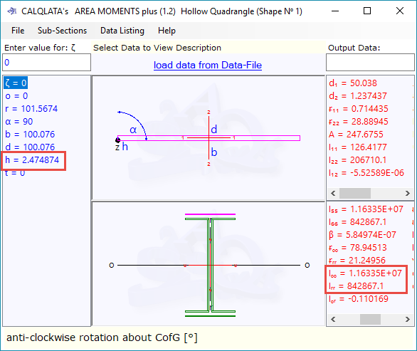 Calculation of second moment of area of the weld pattern