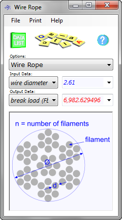 The wire rope calculator determines the properties of multi-strand cable including the effects of dimensional changes under tension